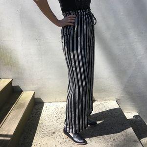 High-waisted striped pants